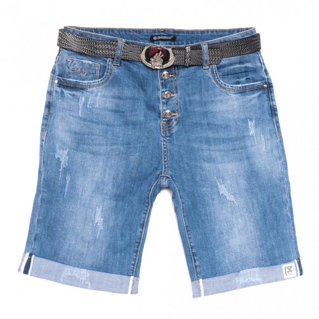 9497 LDM шорты джинсовые женские батальные с царапками синие стрейчевые (30-36, 6 ед.) LDM: артикул 1108909