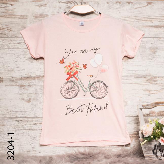 Женская пудровая футболка с принтом 3204-1 Carla Mara: артикул 1109133