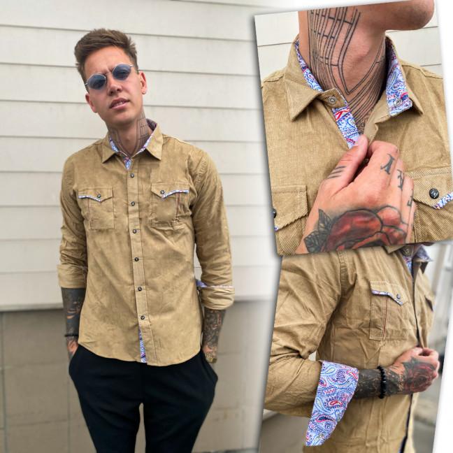 0409-03 YXC рубашка мужская вельветовая бежевая (M-XXL, 4 ед.) YXC: артикул 1109217