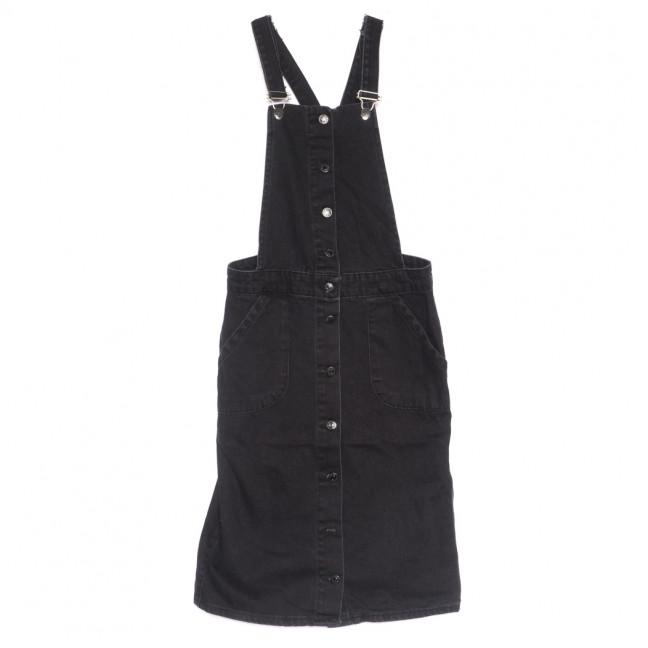 2248 сарафан джинсовый на пуговицах черный весенний коттоновый (ХS-L, 6 ед.) Сарафан: артикул 1109211