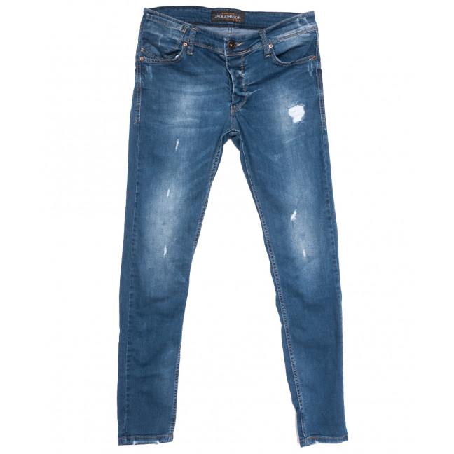 0766 Jack Johnson джинсы мужские зауженные с рванкой синие весенние стрейчевые (29-36, 8 ед.) Jack Johnson: артикул 1108453