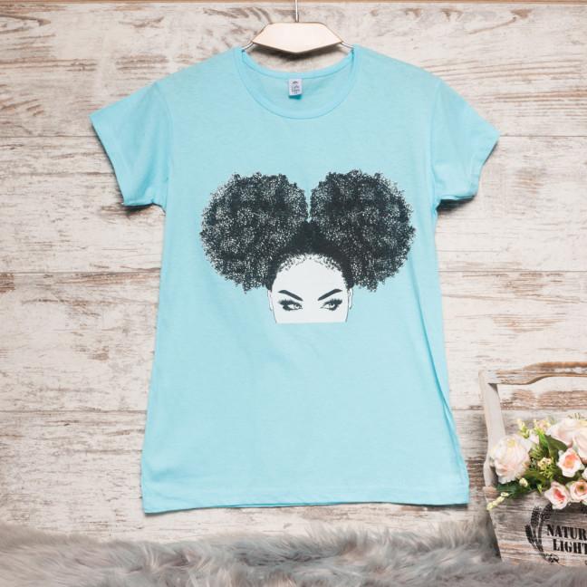 Голубая женская футболка с принтом Carla Mara 3207-2 Carla Mara: артикул 1110813