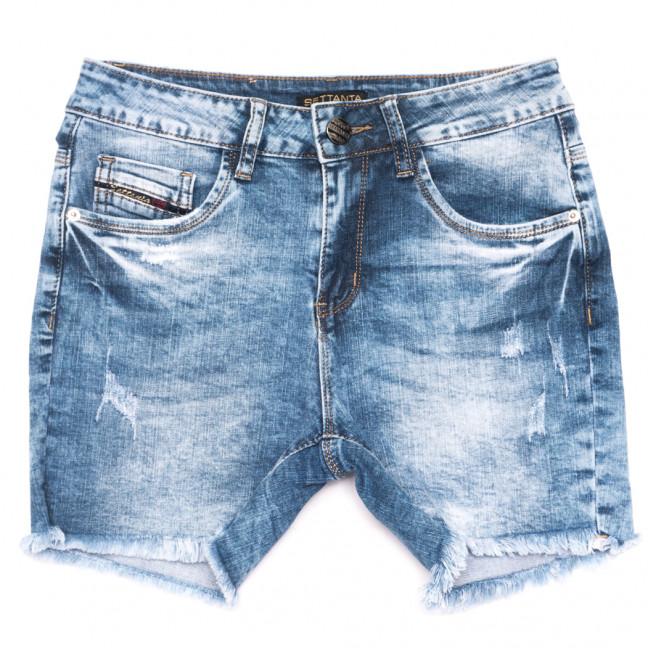 0515-В Settanta шорты джинсовые женские полубатальные с царапками синие стрейчевые (28-33, 6 ед.) Settanta: артикул 1109108