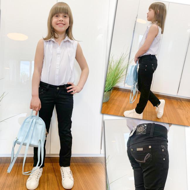 2026 Lafeidina брюки на девочку черные с декоративной отделкой весенние стрейчевые (21-27, 7 ед.) Lafeidina: артикул 1109282