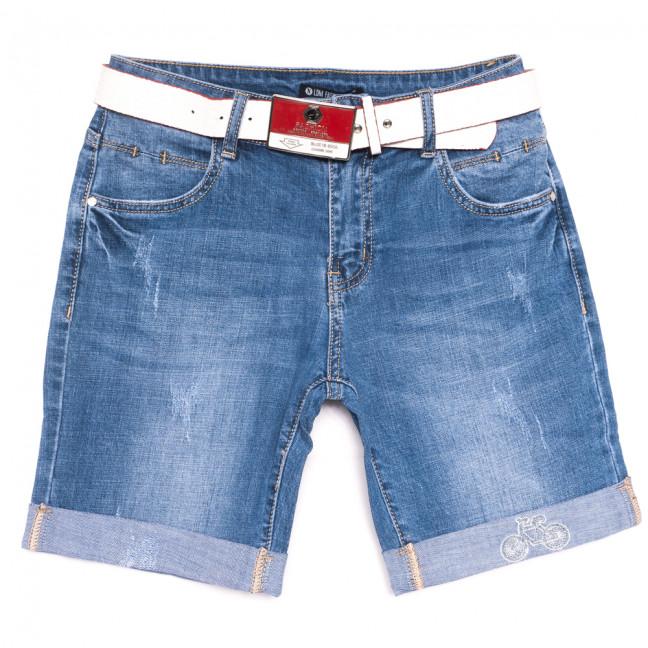 9502 LDM шорты джинсовые женские с царапками синие стрейчевые (25-30, 6 ед.) LDM: артикул 1108926