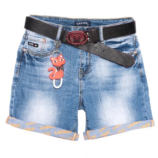 0166 Lan Bai шорты джинсовые женские полубатальные синие стрейчевые (28-33, 6 ед.) Lan Bai: артикул 1108915
