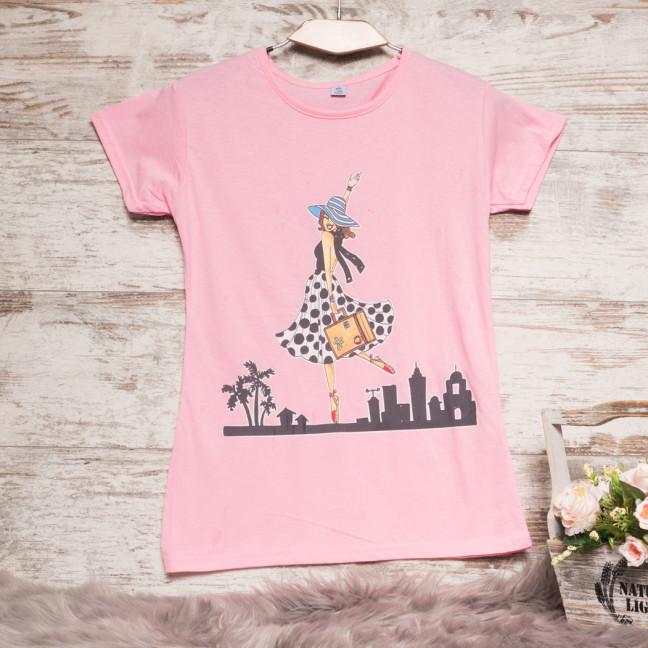 3211-5 розовая Carla Mara футболка женская с принтом стрейчевая (S-XL, 6 ед.) Carla Mara: артикул 1108894