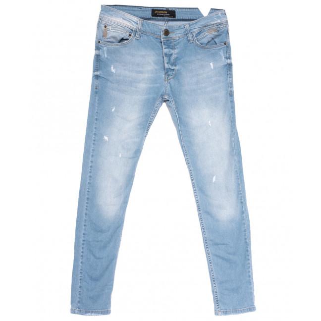0760 Jeckerson джинсы мужские зауженные с рванкой синие весенние стрейчевые (29-36, 8 ед.) Jeckerson: артикул 1108447