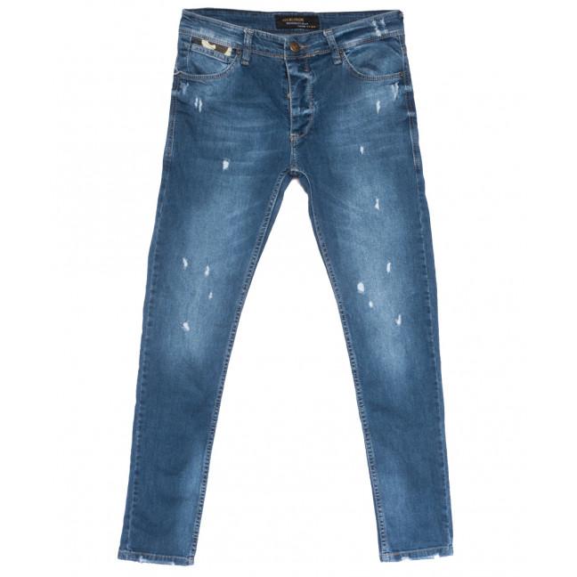 0762 Jeckerson джинсы мужские зауженные с рванкой синие весенние стрейчевые (29-36, 8 ед.) Jeckerson: артикул 1108450