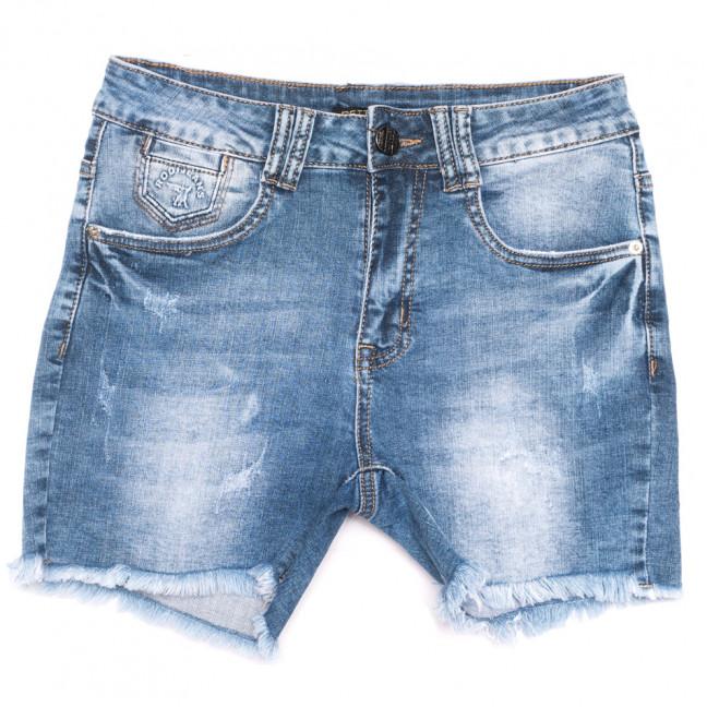 0518-В Settanta шорты джинсовые женские полубатальные с царапками синие стрейчевые (28-33, 6 ед.) Settanta: артикул 1109113