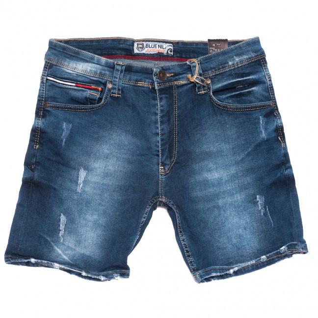 6577 Blue Nil шорты джинсовые мужские с царапками синие стрейчевые (29-36, 8 ед.) Blue Nil: артикул 1108744