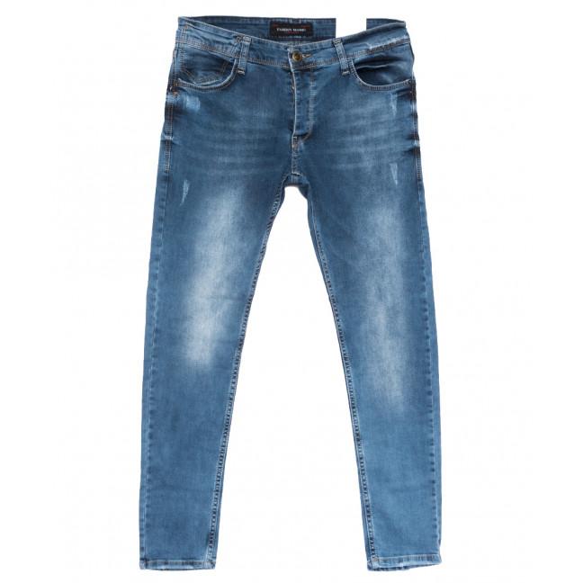 0754 Fashion Mario джинсы мужские с царапками синие весенние стрейчевые (29-36, 8 ед.) Fashion Mario: артикул 1108460