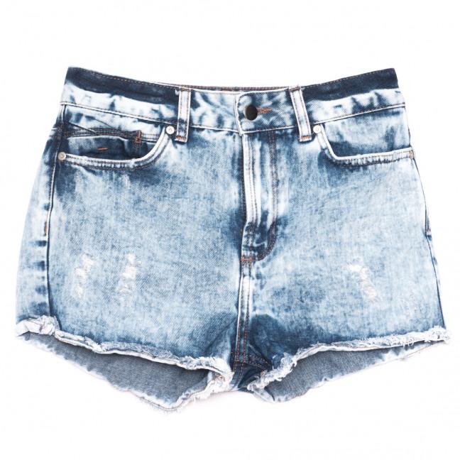 0224 шорты джинсовые женские с рванкой синие коттоновые (25-33, 9 ед.) Джинсы: артикул 1109197