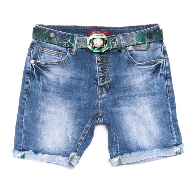 8383 Vanver шорты джинсовые женские полубатальные с царапками синие стрейчевые (28-33, 6 ед.) Vanver: артикул 1108622