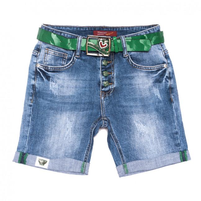 8387 Vanver шорты джинсовые женские с царапками синие стрейчевые (25-30, 6 ед.) Vanver: артикул 1108623