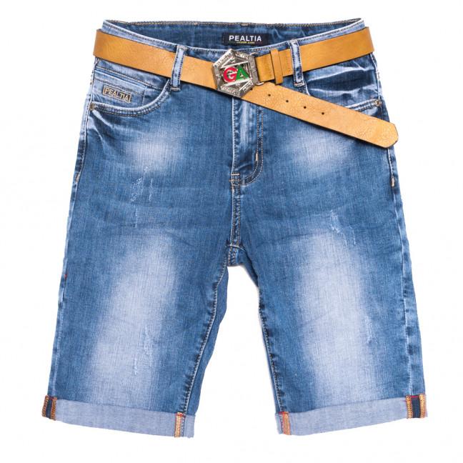 3615 Pealtia шорты джинсовые женские полубатальные с царапками синие стрейчевые (28-33, 6 ед.) Pealtia: артикул 1108904