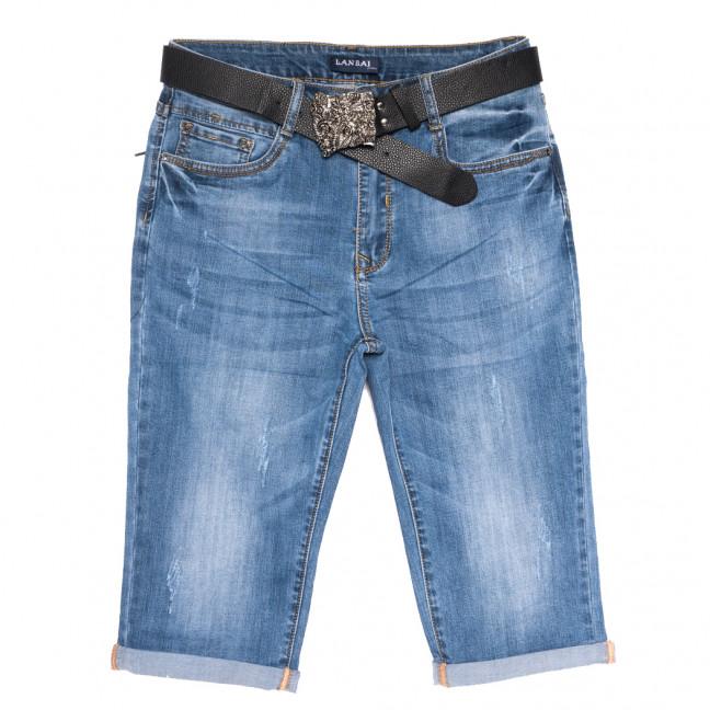 0171 Lan Bai шорты джинсовые женские батальные с царапками синие стрейчевые (32-42, 6 ед.) Lan Bai: артикул 1108920