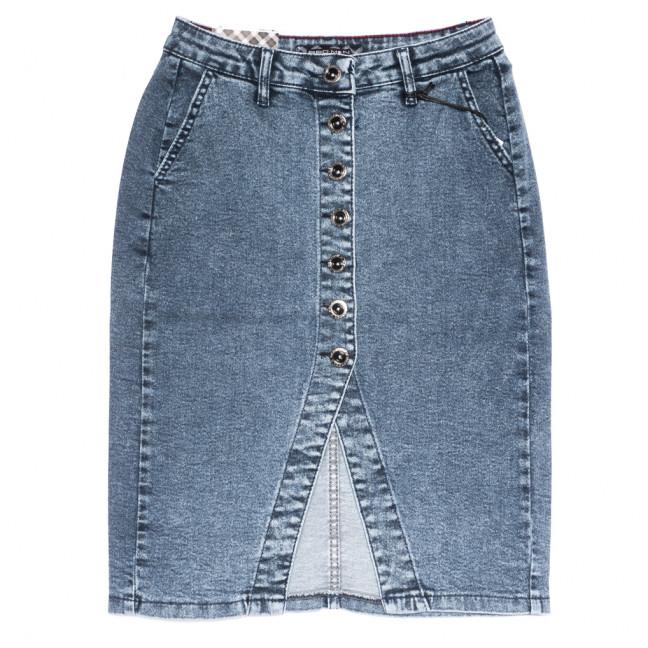 0590 Red Moon юбка джинсовая полубатальная на пуговицах синяя стрейчевая (28-33, 6 ед.) Red Moon: артикул 1109167