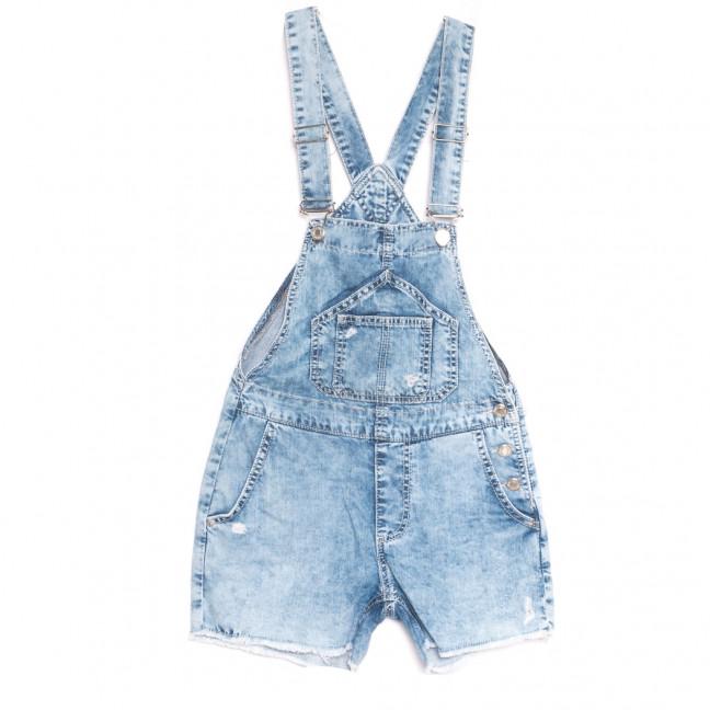 1402 Lzr Snow Its Basic комбинезон-шорты джинсовый женский с рванкой синий весенний коттоновый (32-40,евро, 6 ед.) Its Basic: артикул 1108442