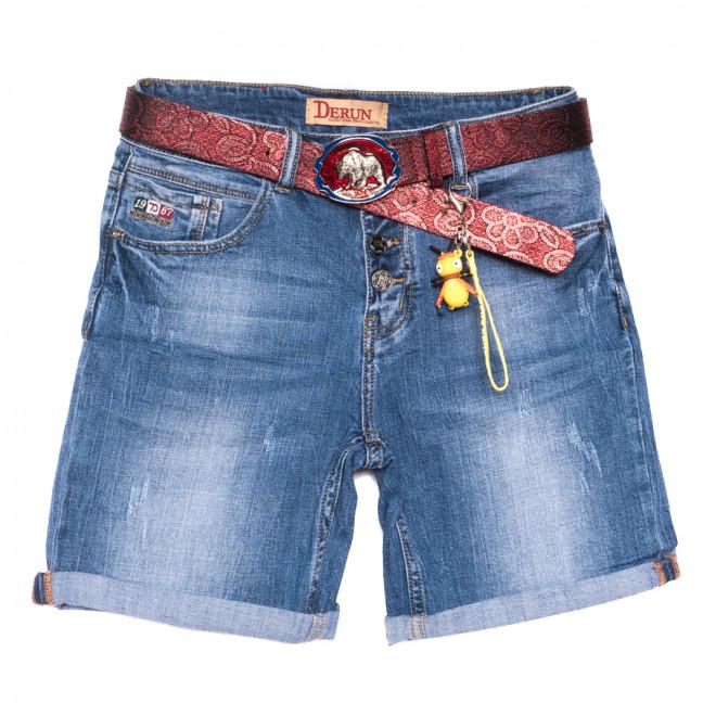 7079 Derun шорты джинсовые женские полубатальные с царапками синие стрейчевые (28-33, 6 ед.) Derun: артикул 1108615