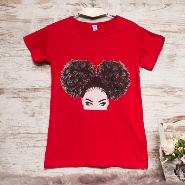 3207-1 красная Carla Mara футболка женская с принтом стрейчевая (S-XL, 6 ед.) Carla Mara: артикул 1108873