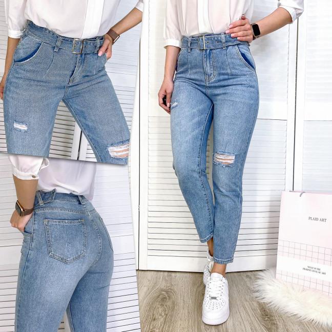 3594 New jeans мом голубой с царапками весенний коттоновый (25-30, 6 ед.) New Jeans: артикул 1102238