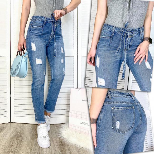 3592 New jeans мом синий с царапками весенний коттоновый (25-30, 6 ед.) New Jeans: артикул 1102253