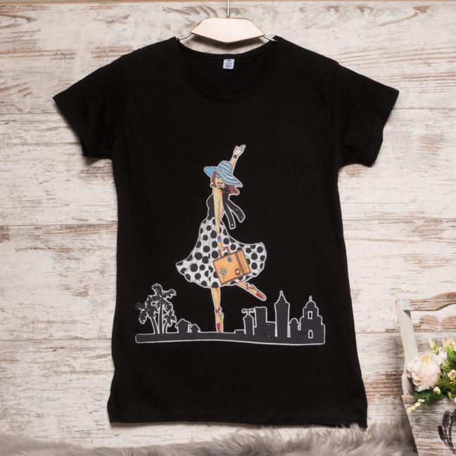 Черная женская футболка с принтом Carla Mara 3211-1 Carla Mara: артикул 1110646