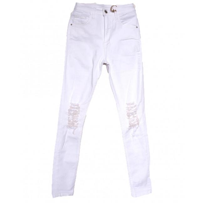 0214 Dobre джинсы женские с рванкой белые весенние стрейчевые (34-42,евро, 5 ед.) Dobre: артикул 1108979