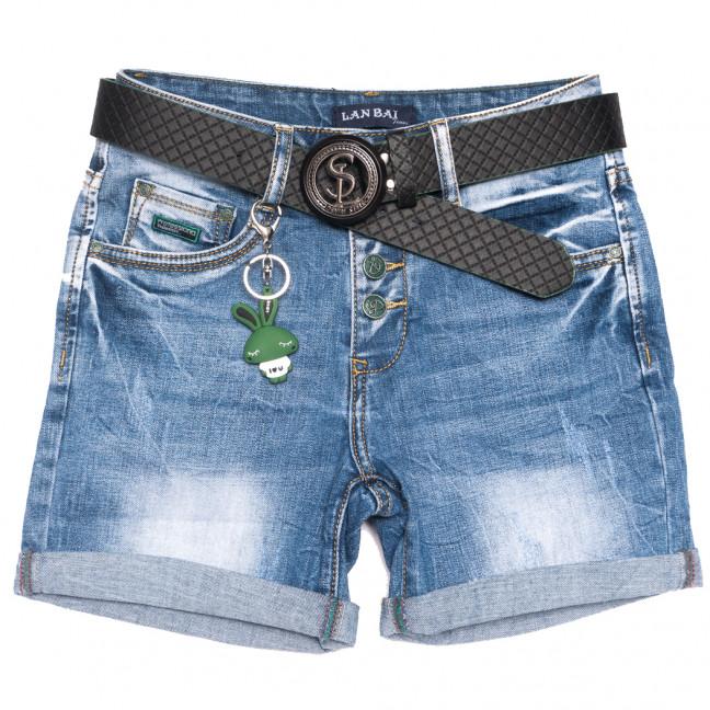 0156 Lan Bai шорты джинсовые женские с царапками синие стрейчевые (25-30, 6 ед.) Lan Bai: артикул 1108929