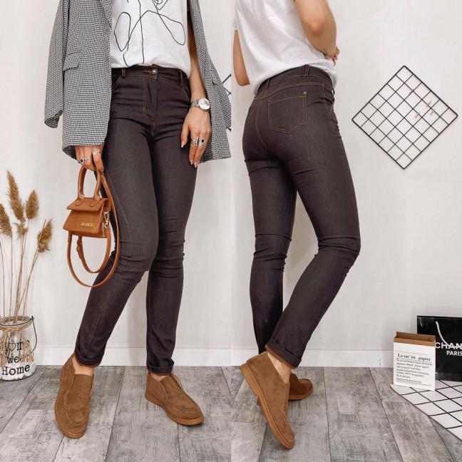 0866-4 Kadeqi брюки женские текстильные коричневые тонкие стрейчевые (25-30, 6 ед.) Kadeqi: артикул 1108387