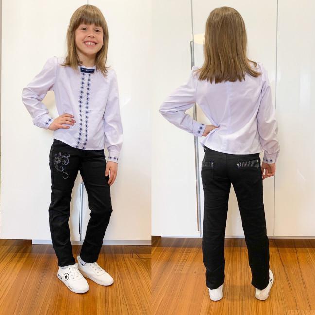 2028-01 Lafeidina брюки на девочку черные с декоративной отделкой стрейчевые (21,22,23,24,26,26,27, 7 ед.) Lafeidina: артикул 1109271