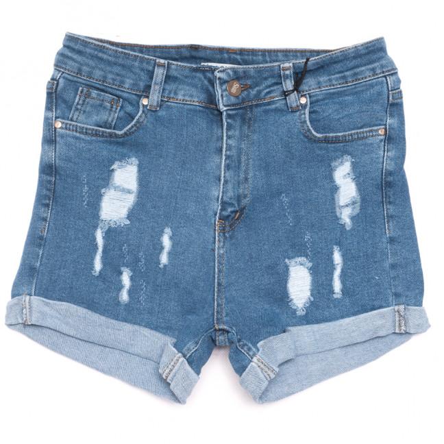 191020 Sasha шорты джинсовые женские с рванкой синие стрейчевые (26-31, 8 ед.) Sasha: артикул 1109200