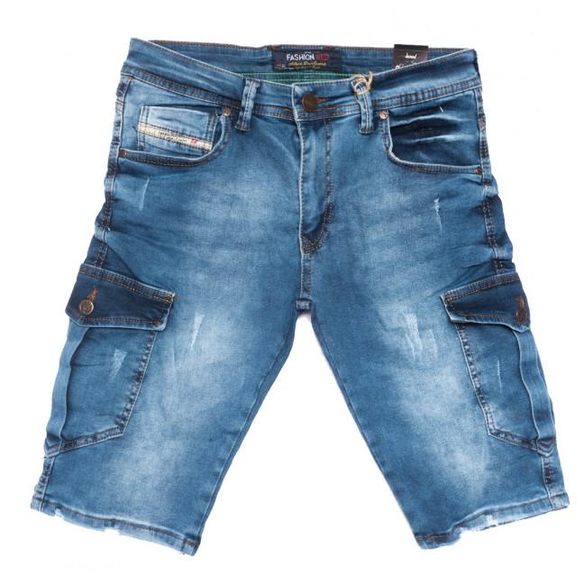 6524 Fashion Red шорты джинсовые мужские с царапками синие стрейчевые (29-36, 8 ед.) Fashion Red: артикул 1109003
