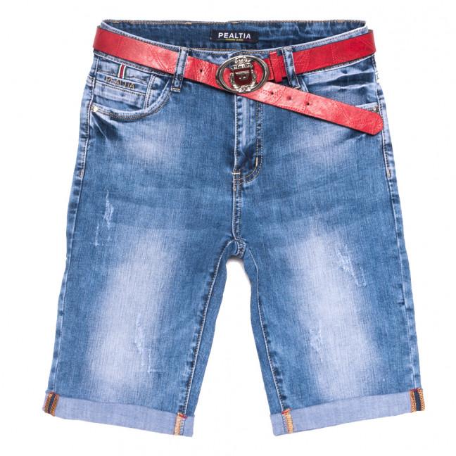 3616 Pealtia шорты джинсовые женские полубатальные с царапками синие стрейчевые (28-33, 6 ед.) Pealtia: артикул 1108901