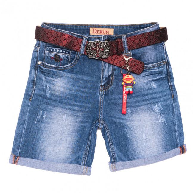 7067 Derun шорты джинсовые женские с царапками синие стрейчевые (25-30, 6 ед.) Derun: артикул 1108613