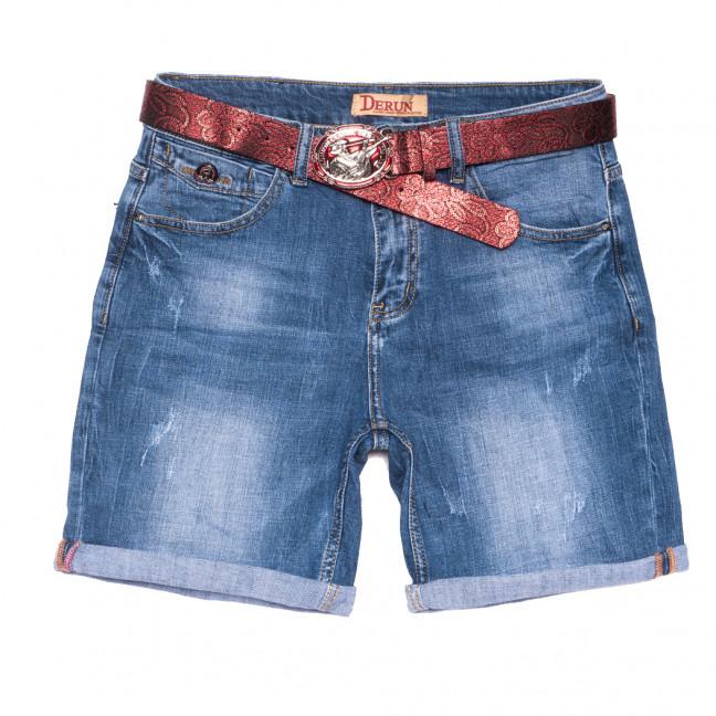 7080 Derun шорты джинсовые женские батальные с царапками синие стрейчевые (30-36, 6 ед.) Derun: артикул 1108606