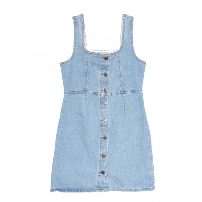 1952 сарафан джинсовый на пуговицах синий весенний коттоновый (ХS-L, 6 ед.) Сарафан: артикул 1109208