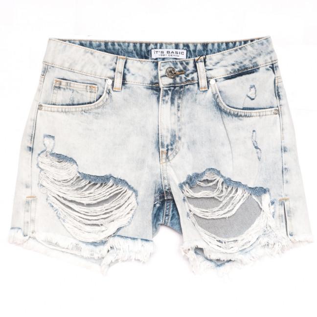1161 Its Basic шорты джинсовые женские с рванкой синие коттоновые (34-42,евро, 6 ед.) Its Basic: артикул 1108436