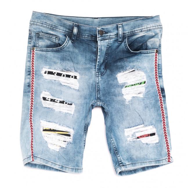 9187 шорты джинсовые мужские с рванкой голубые стрейчевые (29-36, 7 ед.) Шорты: артикул 1108563