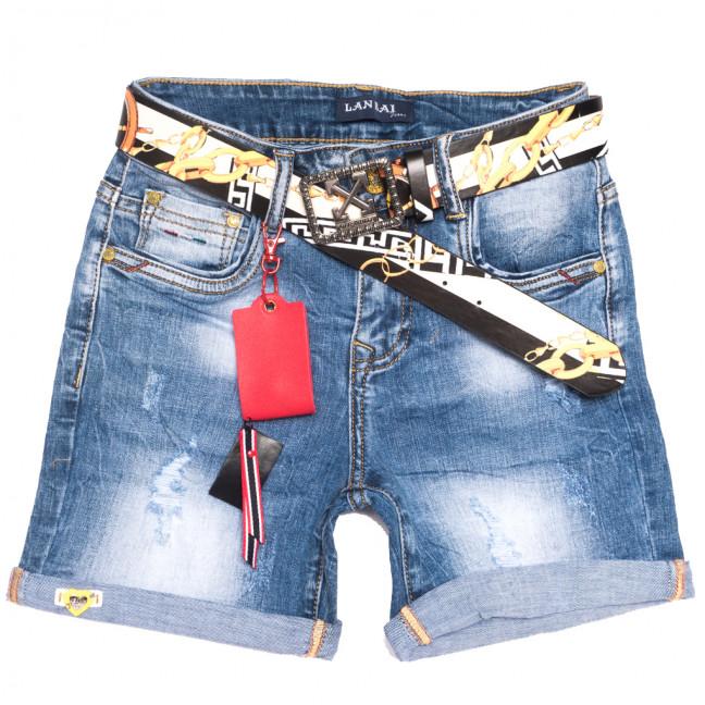 0162 Lan Bai шорты джинсовые женские с рванкой синие стрейчевые (25-30, 6 ед.) Lan Bai: артикул 1108912