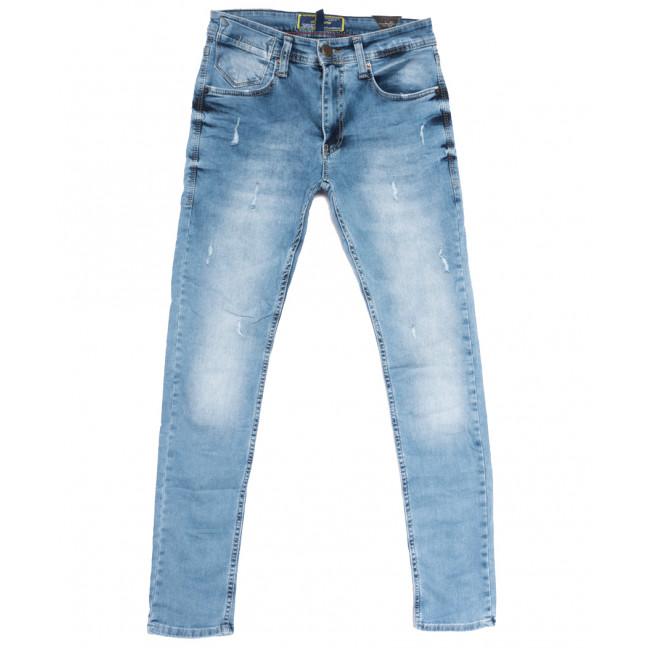 0565 Orjean джинсы мужские зауженные с рванкой синие весенние стрейчевые (29-36, 8 ед.) Orjean: артикул 1108448