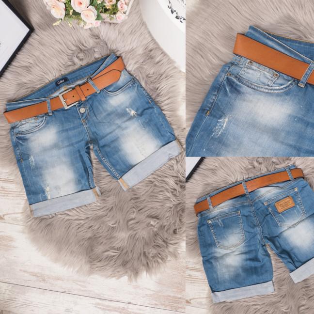 9080-513 Colibri шорты джинсовые женские с ремнем стрейчевые (25-30, 6 ед.) Colibri: артикул 1108338