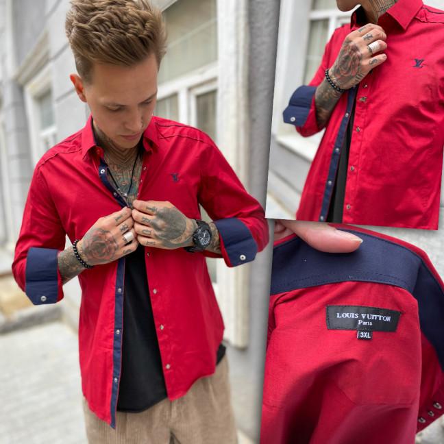 7181-1 рубашка мужская красная (3XL-6XL, 4 ед.) Рубашка: артикул 1109378