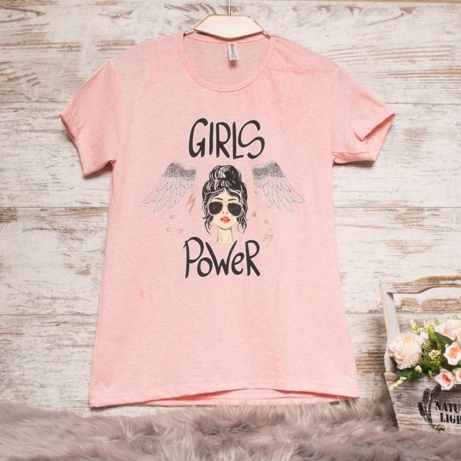 Пудровая женская футболка с принтом Akkaya 3200-3 Akkaya: артикул 1110805