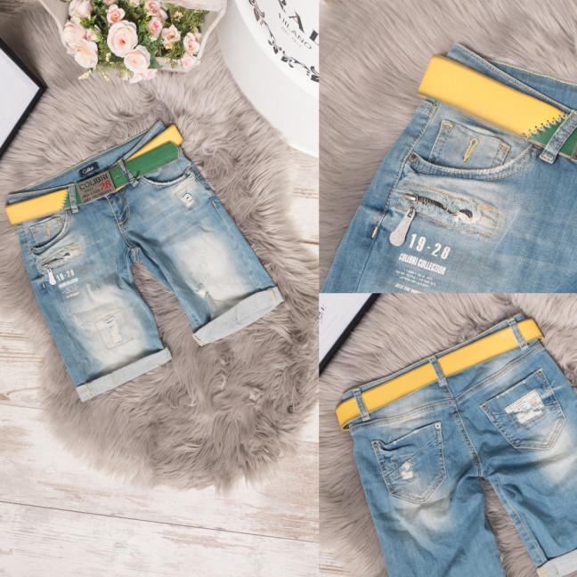 9221-547-01 Colibri шорты джинсовые женские с ремнем стрейчевые (25,26,28, 3 ед.) Colibri: артикул 1108335