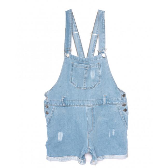0228 голубой Defile комбинезон-шорты джинсовый женский с царапками коттоновый (S-L, 5 ед.) Defile: артикул 1109484