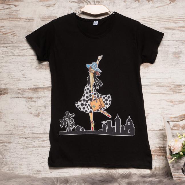 3211-1 черная Carla Mara футболка женская с принтом стрейчевая (S-XL, 6 ед.) Carla Mara: артикул 1108890