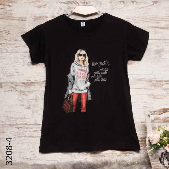 Женская черная футболка с принтом 3208-4 Carla Mara: артикул 1109132