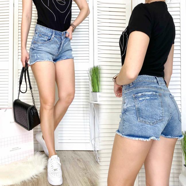 3047 Woox шорты джинсовые женские с царапками синие коттоновые (25-30, 7 ед.) Woox: артикул 1109334